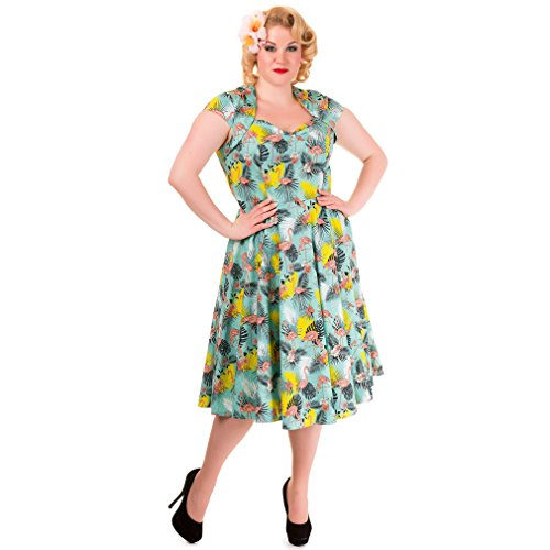 Banned 50er Jahre Rockabilly Damen Kleid Kurzarm Flamingo Tropicana - Tropical Retro Sommerkleid bis 4XL