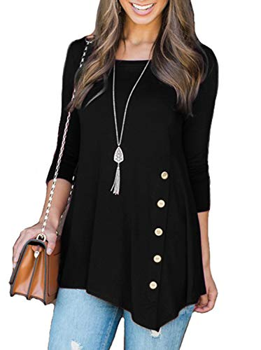 Adreamly Womens 3/4 Sleeve Round Neck Button Side Tunic Top