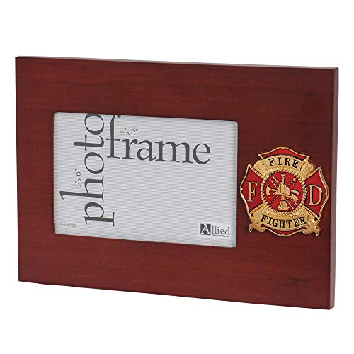 Firefighter Wood Frame - Allied Frame US Firefighter Medallion Desktop Landscape Picture Frame - 4 x 6 Inch