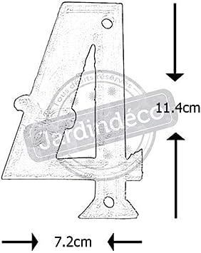 7.9 x 1.2 x 12.4 DB62-6 Esschert Design Gusseiserne Hausnummer 6 rostbraun
