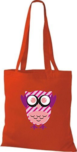 Shirtinstyle Jute Handbag Pretty Colorful Owl Bag With Dots Striped Retro Owl Boxes Various Red
