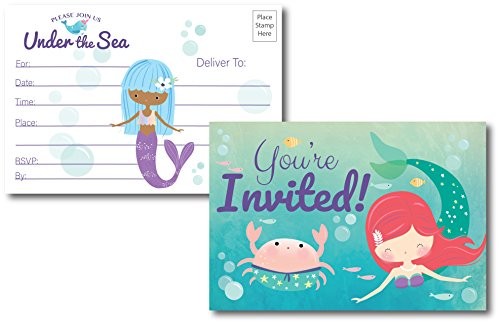Under The Sea Mermaid Birthday Invitations, 25 Fill in Mermaid Party Invitations Postcards, No Envelopes Needed, for Birthday Party, Baby Shower, Bridal Shower, and Any Occasion for Women & Kids (Designs Birthday Invitations)