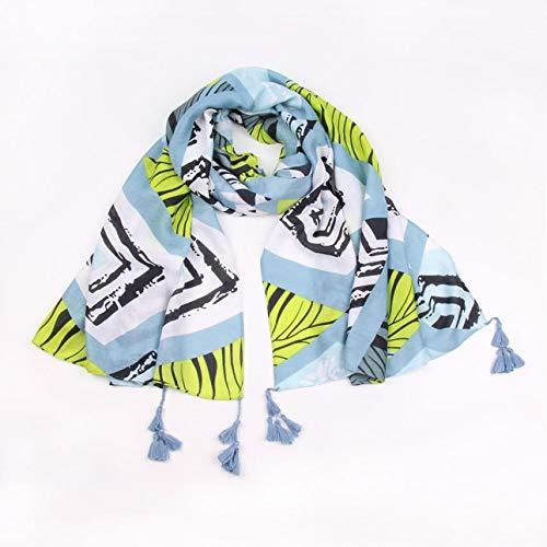 Boomdan Women Sleeve Stripe Print Scarf Shawls Wraps Lightweight Floral Pattern Satin for Headscarf&Neck (Blue) by Boomdan (Image #2)