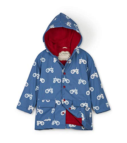 Hatley Boys' Little Printed Raincoats, Color Changing Farm Tractors, 4 Years