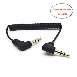 """Riipoo Coiled 3.5mm Audio Cable - 2-pack 30cm Mini Coiled 3.5mm Headphone Cable, 90 Degree 1/8"""" 3.5mm TRS Jack Male to Male Stereo Aux Audio Coiled Cord (M - M)"""