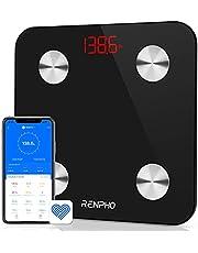 RENPHO Weegschaal, Bluetooth Personenweegschaal, Badkamer Impedantiemeter met 13 Lichaamsgegevens voor Fitness (BMI/Spier/Water/Lichaamsvet)