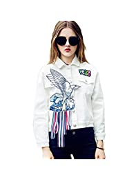 ABADAY White Embroidery Patch Denim Jacket