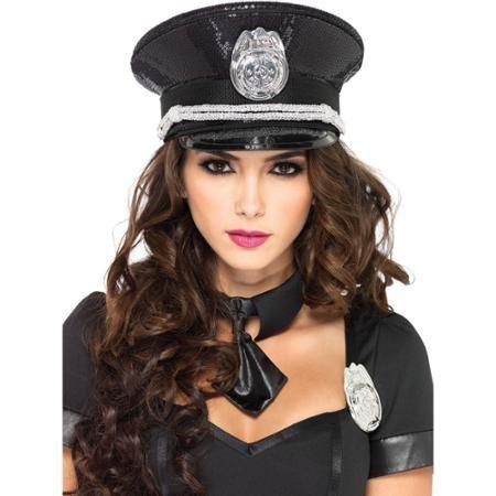 Black Sequin Cop Costumes - Sequin Cop Hat Costume
