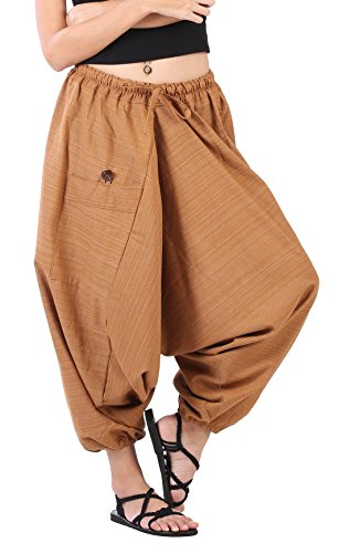 CandyHusky Women Aladdin Loose Baggy Boho Hippie Harem Capri Pants Stripe Cotton