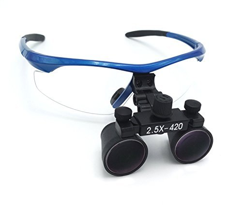 Zgood Surgical Medical Binocular Loupes 2.5X420mm Optical Glass DY-101 Plastic Frame with Antifog Blue by ZGood