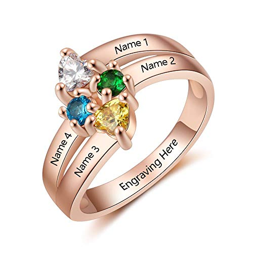 Lam Hub Fong Personalized 4 Simulated Birthstone Mothers Ring with Child Names for Mother's Day Family Rings for 4 Rose Gold (7)