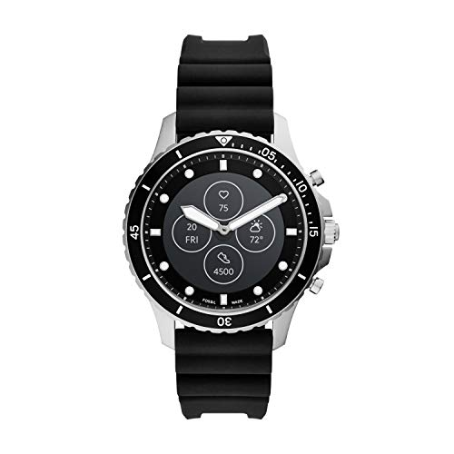 Fossil FB-01 HR Heart Rate Stainless Steel and Silicone Hybrid Smartwatch, Color: Silver/Black (FTW7018)