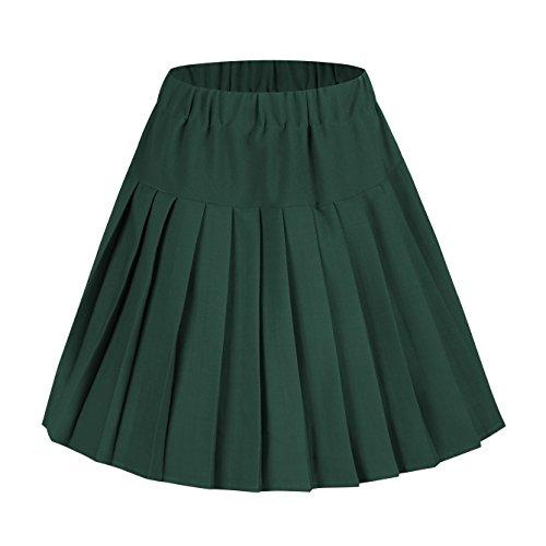- Urban CoCo Women's Elastic Waist Tartan Pleated School Skirt (XX-Large, Solid Dark Green)