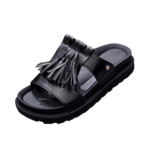 Transer Ladies Roman Flat Slippers- Women Summer Sandals Comfortable Leisure Shoes Black