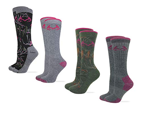 Realtree Womens Full Cushion Merino Wool Camo Pattern Crew Socks 4 Pair Pack (Olive/Black Camo, Pink/Grey, Women's Shoe Size 6-9 - Sock Size ()