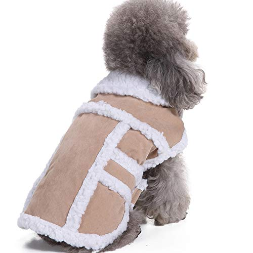 - Warm Small Dog Coats Winter Windproof, Cosy Shearling Fleece Snow Dog Jackets for Small Medium Large Dogs Beige Small