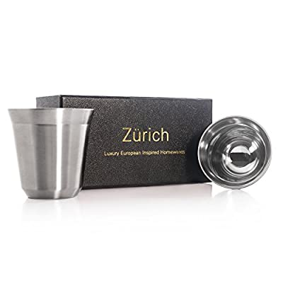Espresso Cups 80mL - 2 x Double Wall Stainless Steel Espresso cup in Beautiful Finish by Zurich. Vacuum insulated. 80ml ( 2.7-oz ) alternative for DeLonghi, Bodum and Nespresso Cups.