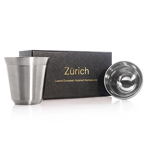 Espresso Cups 80mL - 2 x Double Wall Stainless Steel Espresso cup in Beautiful Finish by Zurich. Vacuum insulated. 80ml ( 2.7-oz ) alternative for DeLonghi, Bodum and Nespresso Cups. (Silver)
