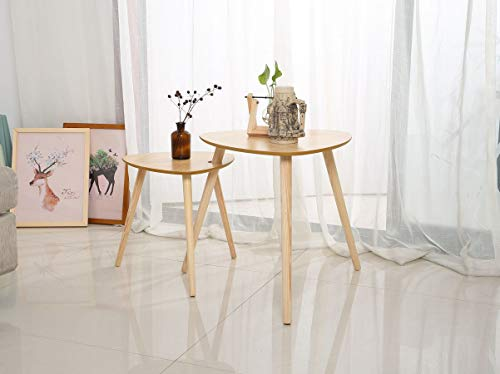 Nesting Coffee End Tables Modern Side Table for Home and Office Easy Assembly(Set of 2)