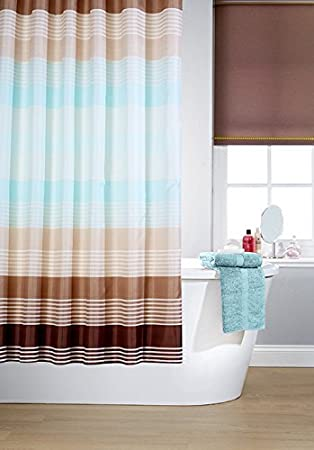 Curtains Ideas brown shower curtain rings : Vibrant Linear Cross Striped Polyester Shower Curtain Including 12 ...