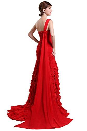 JAEDEN elegante de la mujer un hombro RUCHED noche fiesta Prom gasa vestidos Lavendar