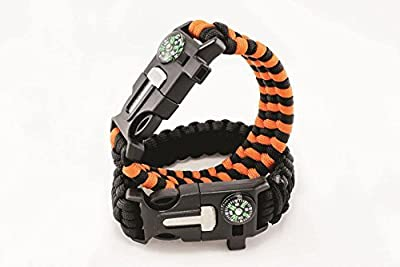 Dream On Orange Outdoor Survival Paracord Bracelet With Compass Fire Starter And Emergency Whistle