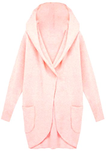 Fulok Womens Fashion Hooded Lapel Pocket Open Front Wool Blend Coat Pink XL