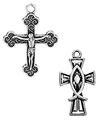 Cross Crucifix Charm Pendants, 100 Pack (50 of Each) (Set 1) - Set Crucifix