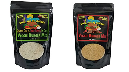 Great Life By Lucinda Veggie Burger Mix - Naturally Vegan Variety Pack of 2 - Each 8 Ounce Package Makes 6 Servings (Chipotle & Roasted Garlic Diced Tomato Chive) (Soy Burger Patties)