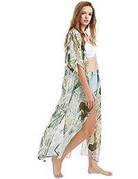 SweatyRocks Women's Summer Maxi Kimono Cardigan Long Beach Cover Up Dress