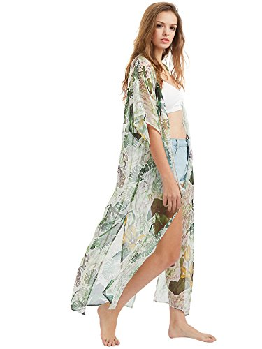 SweatyRocks Women's Summer Maxi Kimono Cardigan Long Beach Cover Up Dress One Size (Tropical Dress Print Womens)