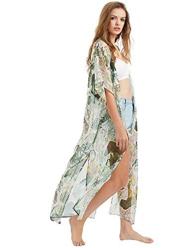 SweatyRocks Women's Summer Maxi Kimono Cardigan Long Beach Cover Up Dress One Size (Print Dress Womens Tropical)