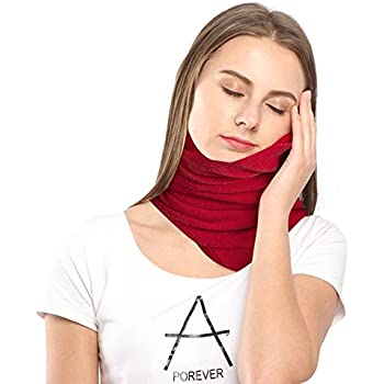 Neck Pillow for Airplane Travel with Super Soft Neck Support System Made with Polar Fleece,Machine Washable-Red By Paraponera