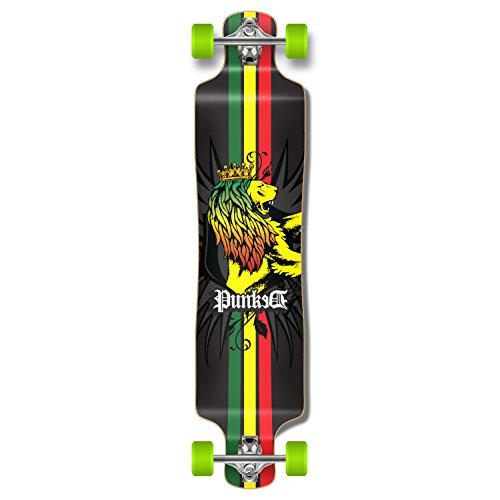 Yocaher Graphic Series Complete Lowrider Skateboards Longboard w/Black Widow Premium 80A Grip Tape Aluminum Truck ABEC7 Bearing 70mm Skateboard Wheels (Complete - Lowrider - 01 - Rasta) ()