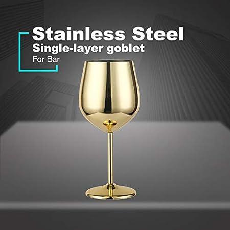 Copa de vino de acero inoxidable, mango de metal, irrompible, copas de vino blanco / cóctel / irrompibles, sin BPA, zumo, bebida, champán, fiesta, bar (dorado)