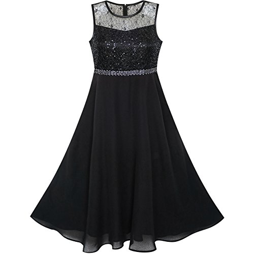 LB15 Girls Dress Rhinestone Chiffon Bridesmaid Dance Ball Maxi Gown Size 12 Black]()