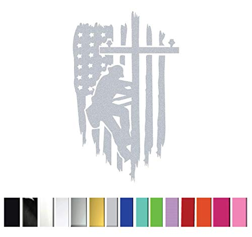 (Lineman (USA Flag) Vinyl Graphic Decal Sticker for Vehicle Car Truck Window Planner Laptop || High Quality Outdoor Rated Vinyl)
