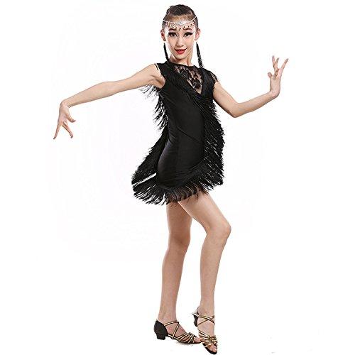 Classic noir Dames Latines Danse Enfants Adultes Costumes Danse Latine Jupes Costume de Danse frangé 160cm