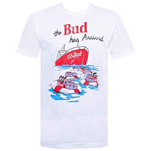 Bud Budweiser Vintage USS Tee Shirt XX-Large White