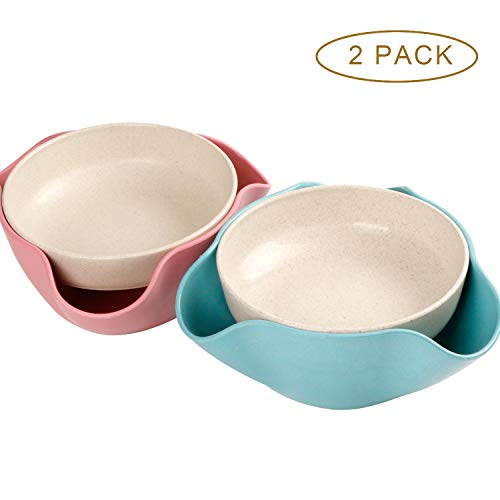 2 Pack Double Dish Pistachio Bowls - Snack Serving Bowls for Peanuts, Edamame, Cherries, Nuts Fruits and Candy, Snacks Disc, Double Dish Nut Bowl with Shell Storage