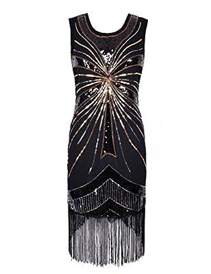 KAYAMIYA Women's 1920S Sequined Beaded Embellishment Gatsby Flapper Dress