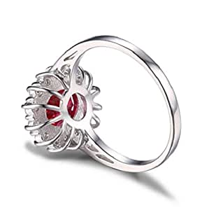 Pigeon Blood Red Ruby Ring Pure Solid Genuine 925 Sterling Silver