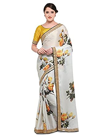 45b346ba52 Inddus Women's Digital Floral Print Satin Saree with Blouse (IND-ISR-235, Off  White and Yellow, Free Size): Amazon.in: Clothing & Accessories