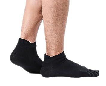 Liuxc Calcetines Calcetines Deportivos para Hombres algodón Calcetines Bajos con Cinco Dedos Calcetines Deportivos Calcetines Deportivos Negro(10 Pares): ...