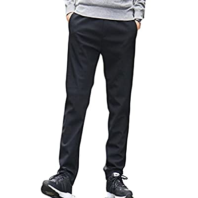 Abetteric Mens Plus Size Plus Velvet Basic Cotton Cozy Winter Casual Trousers for cheap