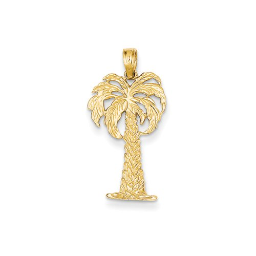 Tree Palm 14k (14k Yellow Gold Textured Palm Tree Pendant, 14 x 26mm)