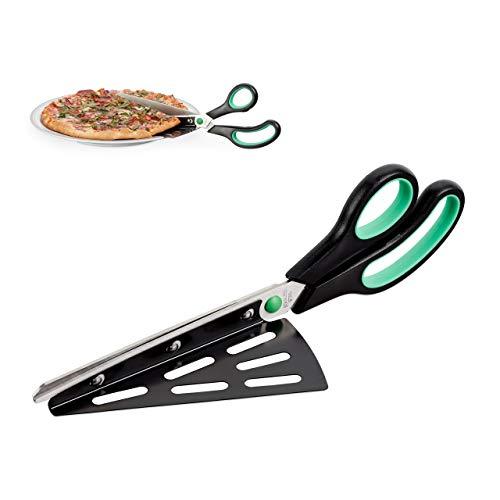 Relaxdays Pizzaschere mit Pizzaheber, Edelstahl Küchenschere, spülmaschinenfester Pizzaschneider, schwarz-grün