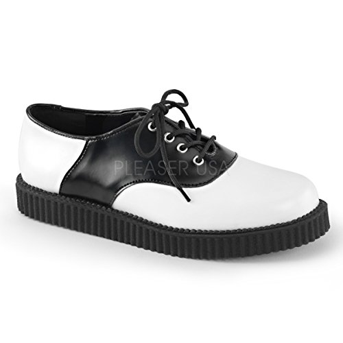 CREEPER-606 Wht-Blk Leather Size UK 4 EU 37