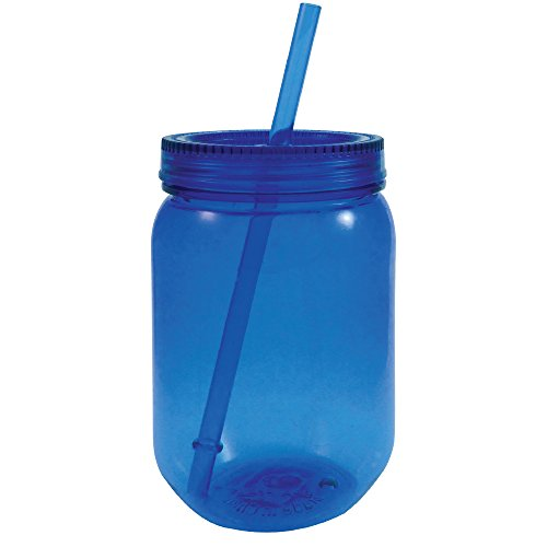 Mason Jar Plastic Neon with Lid and Straw 24 oz (Blue) -