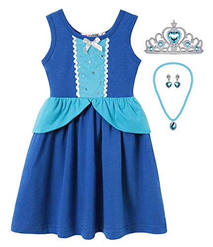 Little Girl Mermaid Dress Snow White Belle Rapunzel Cinderella Elena Costume (4-5 Years, Cinderella with -